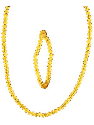 Bright Gold Necklace with Stretch Bracelet Set