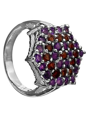 Faceted Amethyst Ring with Garnet