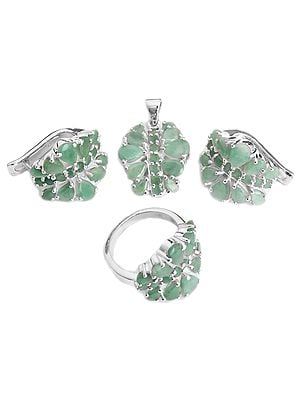 Faceted Emerald Pendant with Earrings and Ring Set