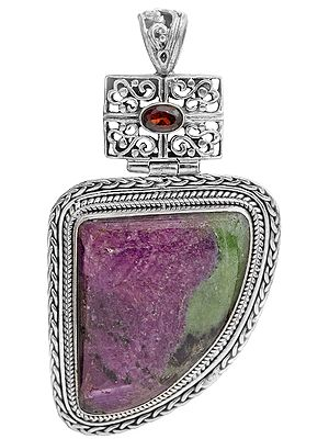 Ruby Zoisite Pendant with Faceted Garnet