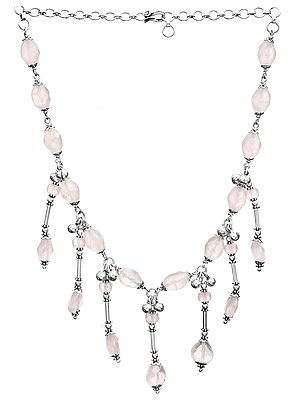 Faceted Rose Quartz Chandelier Necklace