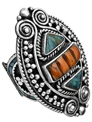 Coral and Turquoise Ring from Afghanistan