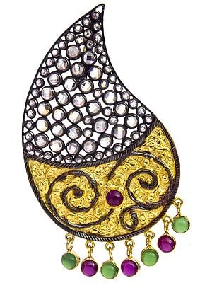 Designer Paisley Pendant with Ruby and Emerald