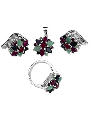 Faceted Triple Gemstone Pendant, Earrings with Ring Set (Emerald, Ruby and Sapphire)