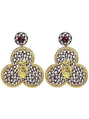 Lord Ganesha Gold Plated Earrings with Ruby