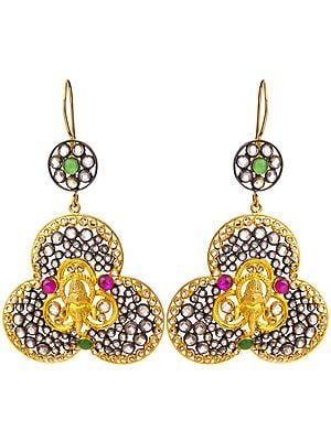 Lord Ganesha Gold Plated Earrings with Ruby and Emerald