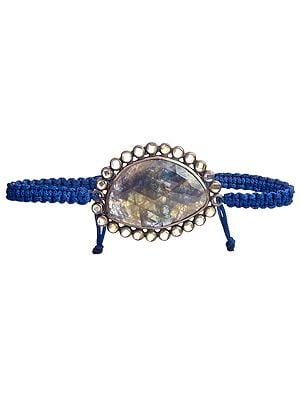 Faceted Sapphire  with Crystal Cord Bracelet