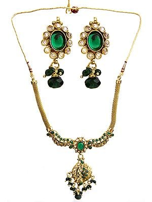 Faux Emerald Necklace with Earrings Set