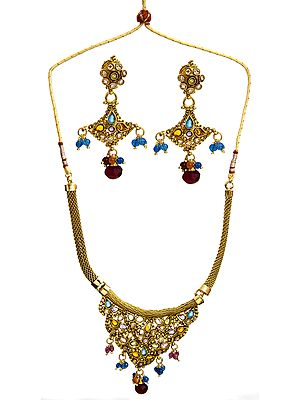 Multi-Color Necklace With Earrings Set