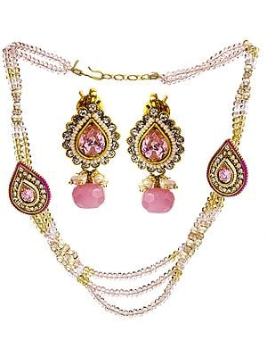 Pink Cut Glass Victorian Neckalce with Earrings Set