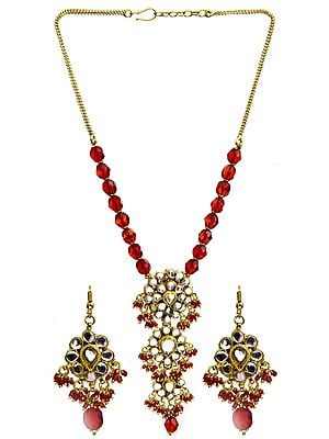 Red Beaded Kundan Necklace Set with Earrings