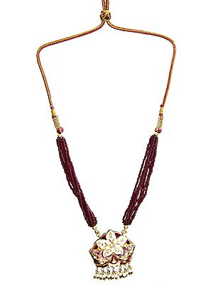 Maroon Beaded Bunch Necklace