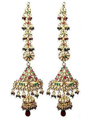 Faux Ruby and Emerald Polki Earwrap Earrings