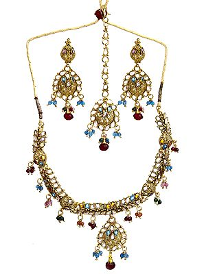 Multi-Color Necklace with Earrings and Tika Set