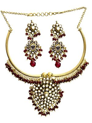 Kundan Necklace Set with Faux Ruby