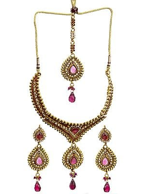 Pink Choker Set with Earrings and Tika