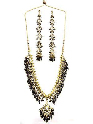Black Kundan Necklace Set with Earwrap Earrings