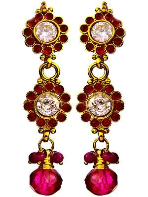 Red Color Earrings with Cut Glass