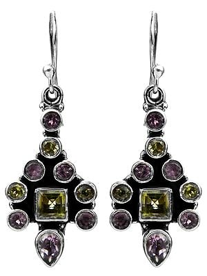 Faceted Peridot with Amethyst Earrings