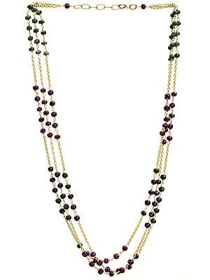 Faceted Three Strand Gold Plated Necklace (Ruby, Emerald and Sapphire)