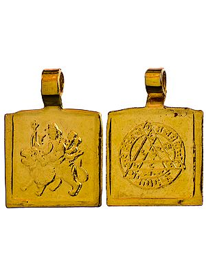 Pendant of Goddess Durga with Her Yantra on Reverse (Two Sided Pendant)