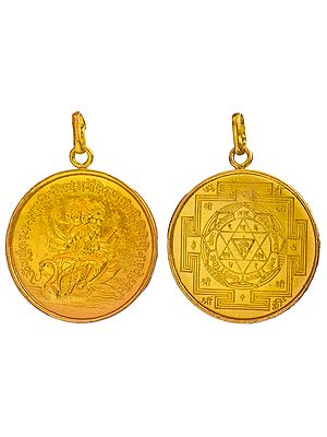 Pendant of Goddess Gayatri with Her Yantra on Reverse  (Two Sided Pendant)