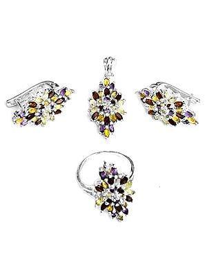 Three-Gems (Citrine, Amethyst and Peridot)  Pendant with Earrings and Ring Set