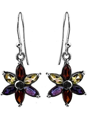 Faceted Three Gems Earrings (Garnet, Iolite and Peridot)