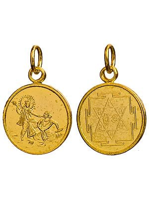 Bagalamukhi Pendant with Her Yantra on the Reverse (Two Sided Pendant)
