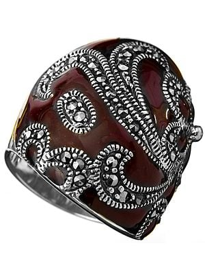 Purple Marcasite Ring