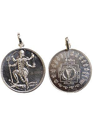 Mahavidya Kali Pendant with Her Yantra on Reverse (Two Sided Pendant)