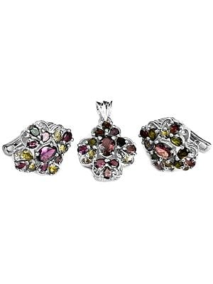Faceted Tourmaline Pendant with Earrings Set
