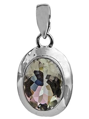 Faceted Green Amethyst Oval Pendant