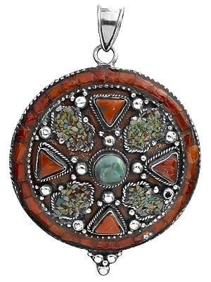 Pendant with Coral and Turquoise