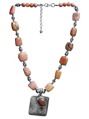 Faceted Pink Opal Necklace