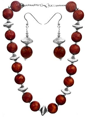 Sponge Coral Necklace with Earrings Set