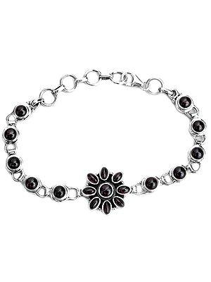 Garnet Bracelet with Central Flower