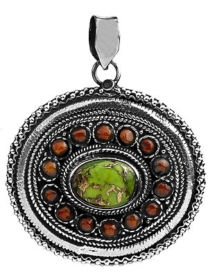 Green Mohave Turquoise and Coral Pendant