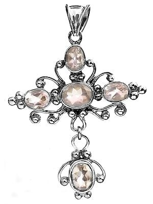 Sterling Pendant with Faceted Gems