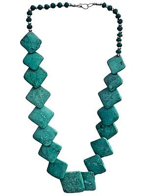 Turquoise Colored Rhomboid Beaded Necklace