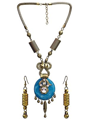 Beaded Multi-Color Necklace with Earrings Set