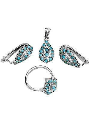 Turquoise Pendant with Earrings and Ring Set