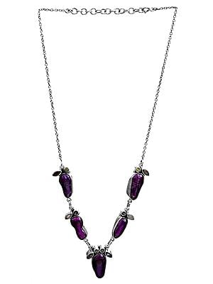 Purple Pearl Necklace with Faceted Gemstone (Rainbow Moonstone, Garnet, Peridot, Amethyst, BT and Iolite)