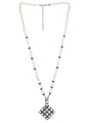 Rainbow Moonstone Necklace with CZ Pendant