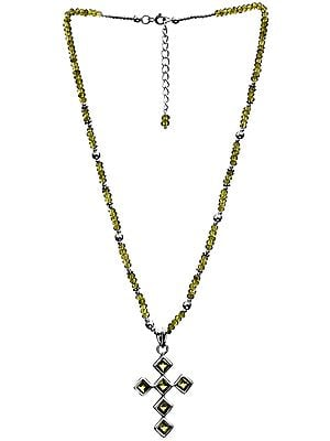 Faceted Peridot Cross Necklace