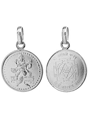 Shri Saraswati with Her Yantra on the Reverse (Two Sided Pendant)