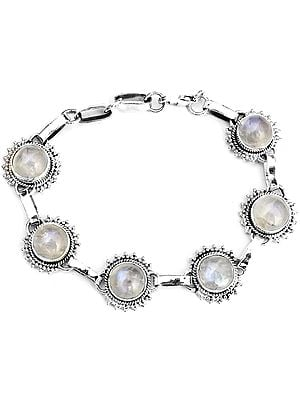 Oval Rainbow Moonstone Bracelet