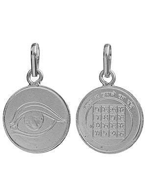 Evil Eye (Nazur Boncuk) Pendant with Yantra on the Reverse (Two Sided Pendant)