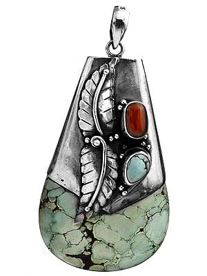 Spider's Web Turquoise Gourd Pendant with Coral and Sterling Leaves