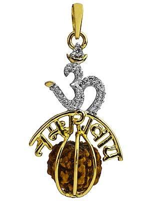 Om Namah Shivai Pendant with Rudraksha